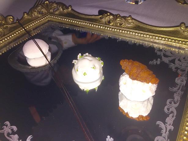 Desayuno lujoso en Diverxo, con helado de croissant