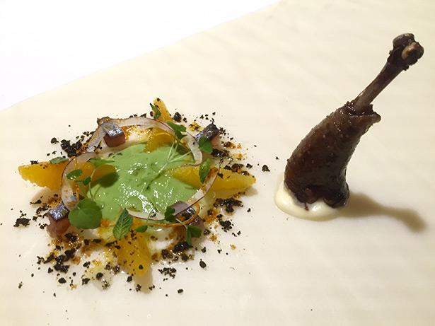Pinchón Moruno, primera evolución: con ensalada líquida, sardina y naranja, Diverxo