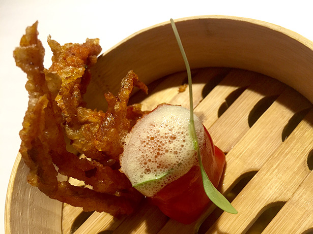 Dumpling de centolla y cangrejo de caparazón blando, Diverxo