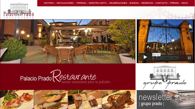 Imagen de la vista principal de la página web del Palacio Prado