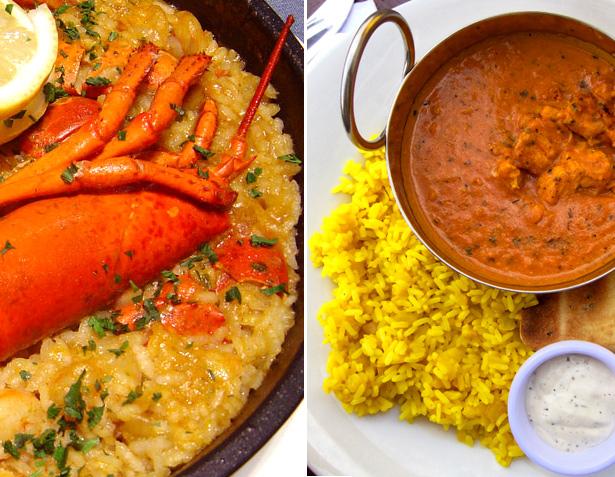 Platos con arroz: paella y curry indio