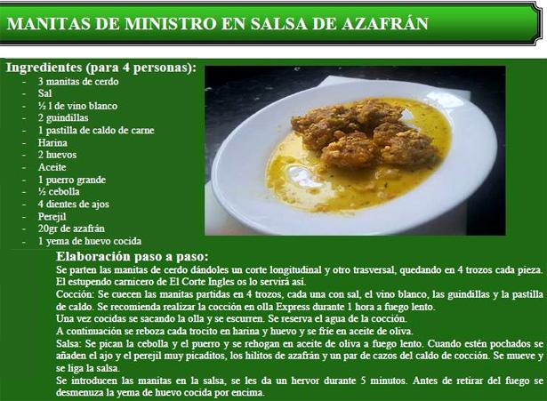 Recetad e manitas de ministro con salsa de azafrán