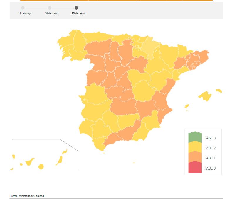 España en Fase 1 el lunes y el 47% en Fase 2: ¿en cuál está tu ...
